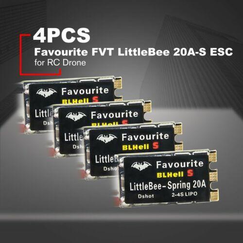 4PCS Favourite FVT LittleBee 20A-S ESC BLHeli/_S OPTO 2-4S Oneshot42//125 Drone G@