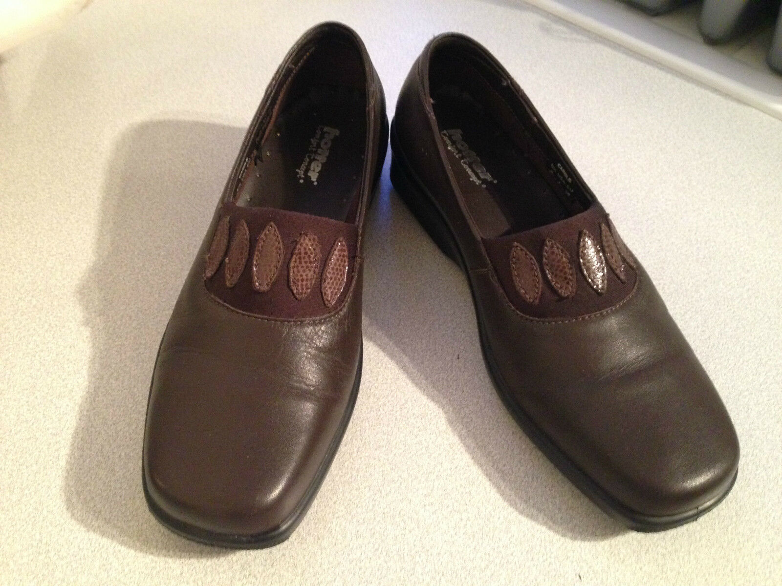 Ladies Hotter Carole brown leather casual slip on shoes UK 5 EU 38