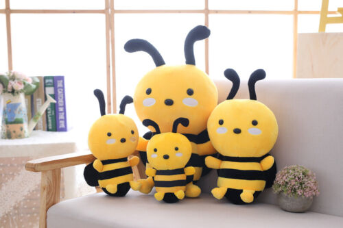 Kawaii Honeybee Plush Toy Lovely Bee with Wings Soft Stuffed Baby Dolls Kids Gif