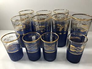 Lot-Vtg-Mid-Century-Blue-Culver-Gold-Trim-Overlay-Small-Large-Drinking-Glasses