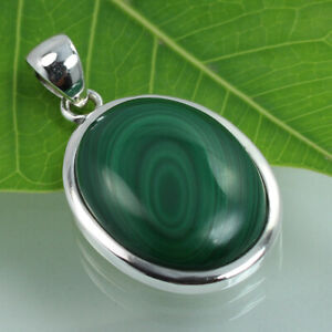 FS-925-Solid-Sterling-Silver-Genuine-MALACHITE-Gemstone-Pendant-Manufacturer