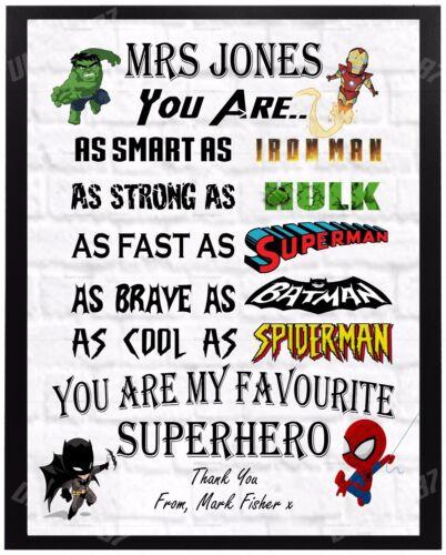 Personnalisé super-héros professeur merci cadeau cadeau école laissant
