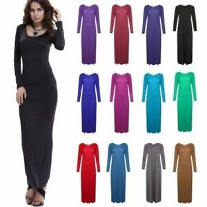 Women-Plain-Long-Sleeve-Jersey-Maxi-Dress-Ladies-Stretchy-Flared-Abaya-Top