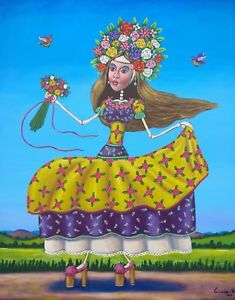 Big-Mexican-lady-Painting-German-Rubio-Folk-Art-girl-crowned-with-flowers