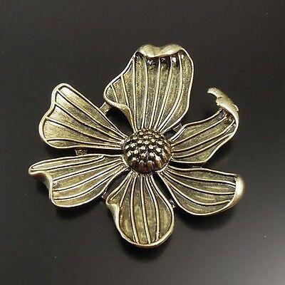 5pcs Antique Style Bronze Tone Alloy Large Flower Pendant Charms 54mm