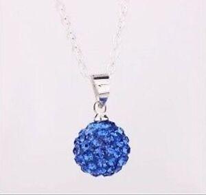 Cm Cristal Offert ClairChaine Pendentif Shamballa Sur Bleu Détails Disco Collier Boule 45 OPk8nXN0w