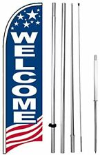 New Listingwelcome Windless Swooper Feather Flag 15 Tall Pole Spike Kit Banner Sign Bb H
