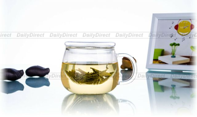 1pc 10fl.oz/300ml Round Heat-Resisting Glass Tea Pot Water Coffee Cups w/infuser