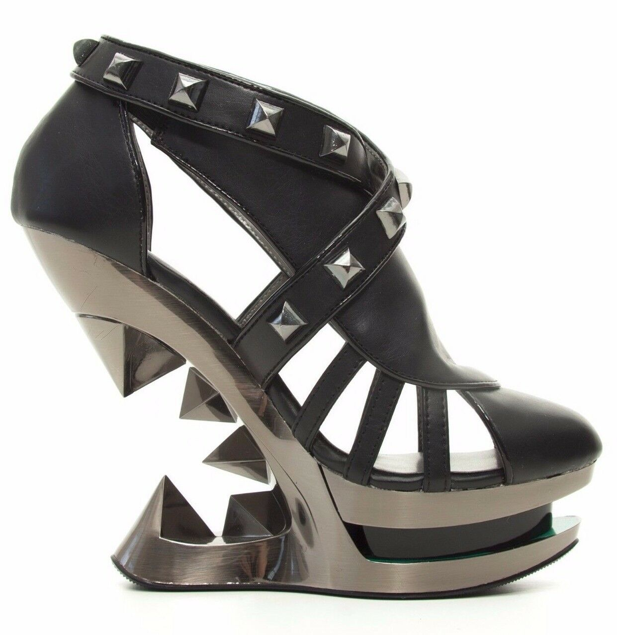Sexy Hades KRACE Black Strappy Shoes Platform Gun Metal Wedge Iceberg Wedge Metal Heels 295d9a