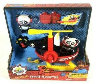 NEW-Ryans-World-Combo-Panda-Rescue-Helicopter-Disk-Launcher-Action-Figure