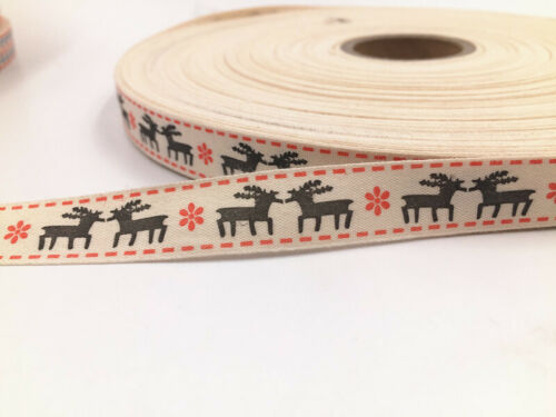 50-100 Yards Printed Cotton Christmas Decoration Sewing Fabric Webbing 15mm New