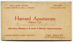 Old Business Card Harvard Apts Billiard Card Ball Rooms