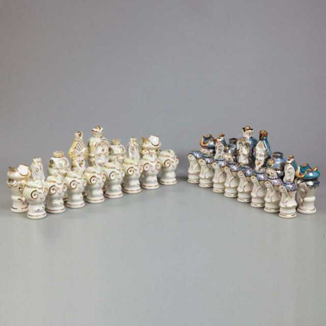 Soviet Porcelain Chess Set: The tree of life. Dulevo Factory, 1988