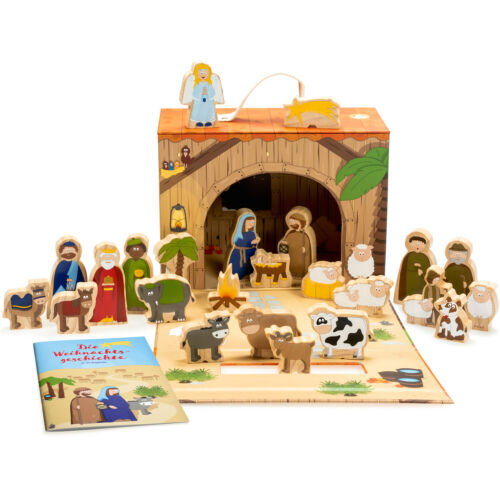 Kinder im Koffer mit Weihnachts-Geschichte 26-tlg Spielkrippe mit Holzfiguren f