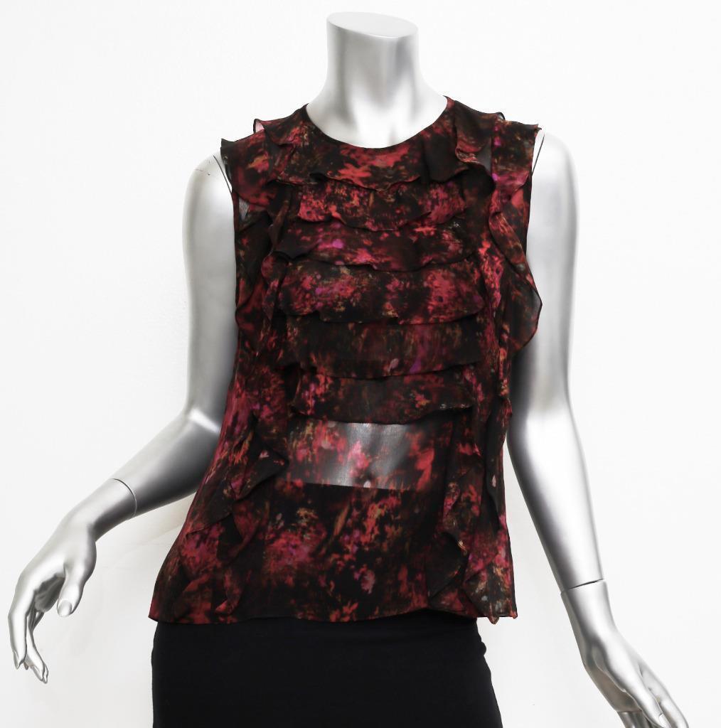 ERDEM damen schwarz Sleeveless Ruffle WaterFarbe Floral Print Blouse Shirt Top M