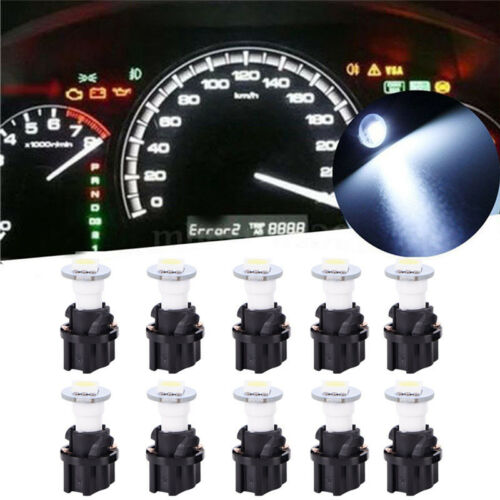 10Pcs T5 5050 LED Instrument Panel Cluster Dash Light Bulb Twist Socket WhiteY0