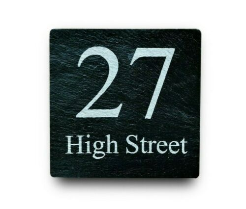 Personalised Engraved Slate Square House Door Number Plaque Plate Name Sign