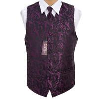 """Men's Black/Purple Passion Wedding Waistcoat -Size 36""""-50"""" Choice Cravat Bow Tie"""
