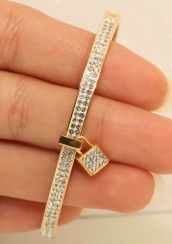 14k Or Jaune Finition Key Lock Love 2.5 Ct Diamant Bracelet Jonc