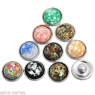 10 Mixte Mini Boutons Pression chunks pr Bracelet DIY Rond 12mmx8mm K80050