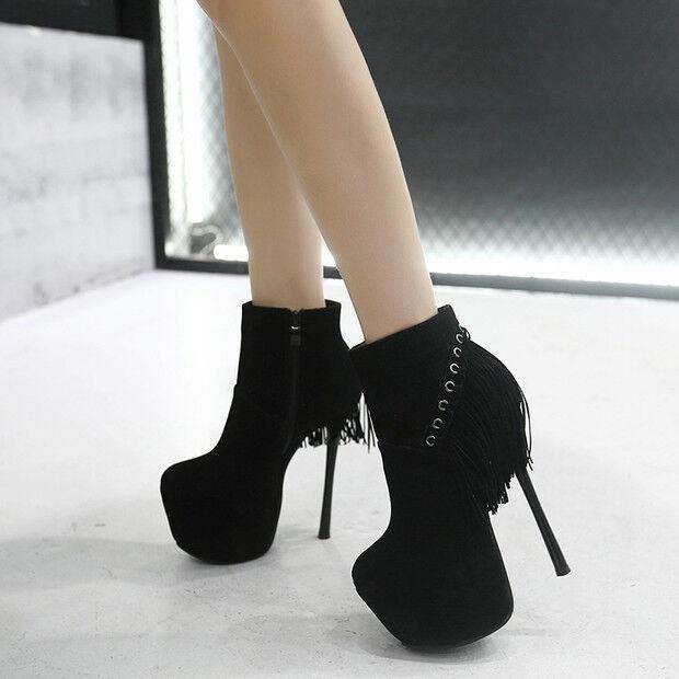 botas bajo tacón de aguja 14 cm tobillo negro cómodo como piel 9587 ... 6fdd94ecc62d8
