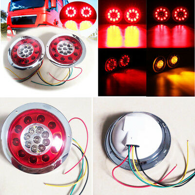 2PCS Round Red+Amber LED Light Car Truck Trailer Tail Lamp Turn Side Marker New