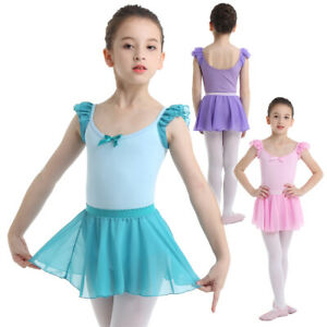 Girls-Kid-Baby-Ballet-Dance-Dress-Gymnastics-Dancewear-Leotard-Tutu-Skirt-Outfit