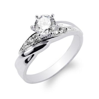 JamesJenny Ladies Cute 10K//14K White Gold Tear Shaped Ring Size 4-10