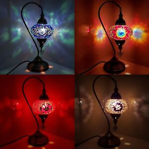 Details About Handmade Turkish Moroccan Large Colourful Lamp Light Gl Mosaic Table Ce Cert