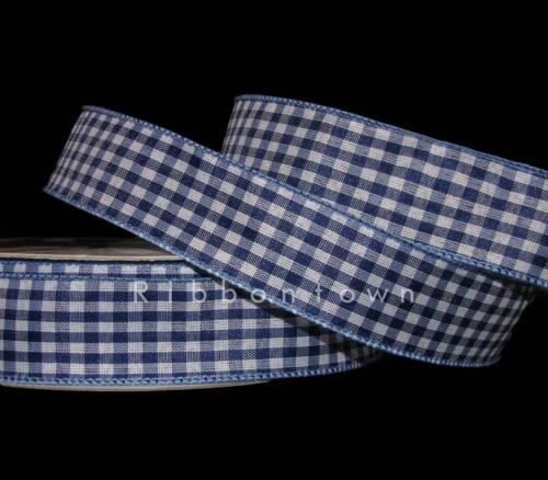"""environ 4.57 m Bleu Marine ou Bleu Royal Blanc Vichy Plaid filaire ruban 1 1//2/"""" W 5 Yd"""