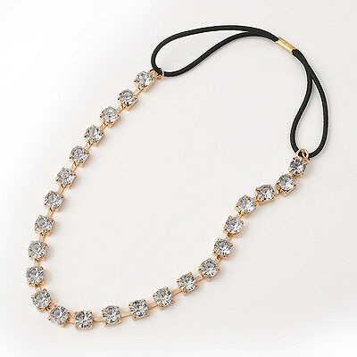 Women Fashion Metal Crystal Rhinestone Bridal Elastic Chain Headband Hair Band