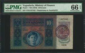 Yugoslavia-Stamp-on-Austria-10-Kronen-1915-Gem-Uncirculated-PMG-66-RARE