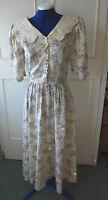 VINTAGE **LAURA ASHLEY**beige/purple lace floral dress~1980's ~ size 8/10