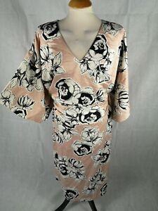 Ladies-Dress-Size-26-M-amp-S-Pink-Floral-Kimono-Style-Party-Evening-Wedding-Races