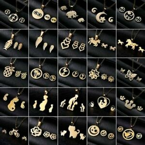 Charm-Gold-Stainless-Steel-Jewelry-Set-Women-Pendant-Necklace-Earrings-Wedding