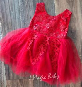 Baby-Girls-Red-Lace-Embroidery-Tulle-Dress-Princess-Birthday-Party-Wedding-Xmas