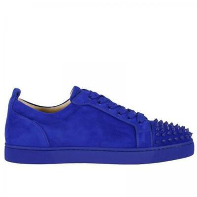 new product 98340 e2e9c Christian Louboutin LOUIS JUNIOR Spikes Mens Suede Sneaker Flat Shoes Blue  $895 | eBay