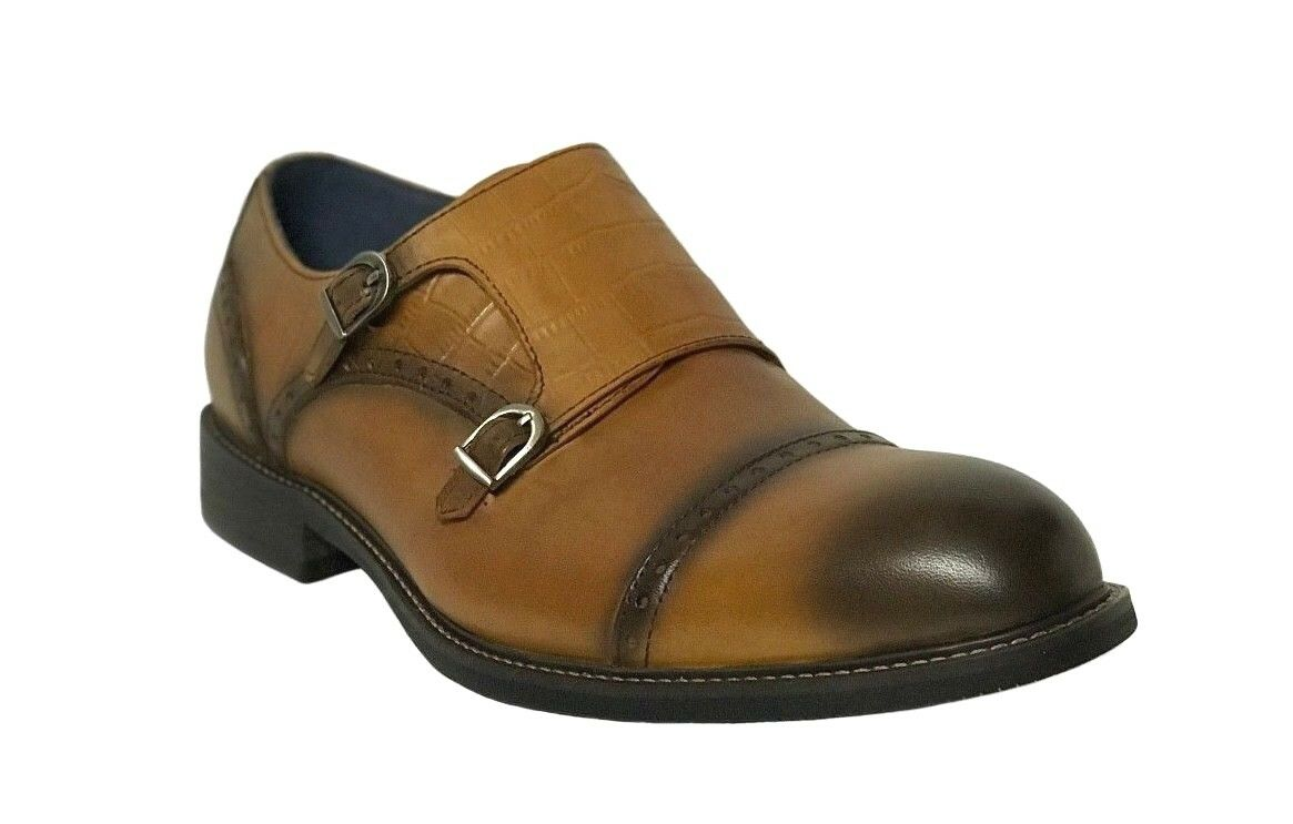 Moretti Men's Double Monk Strap Cognac Leather Dress shoes M31053