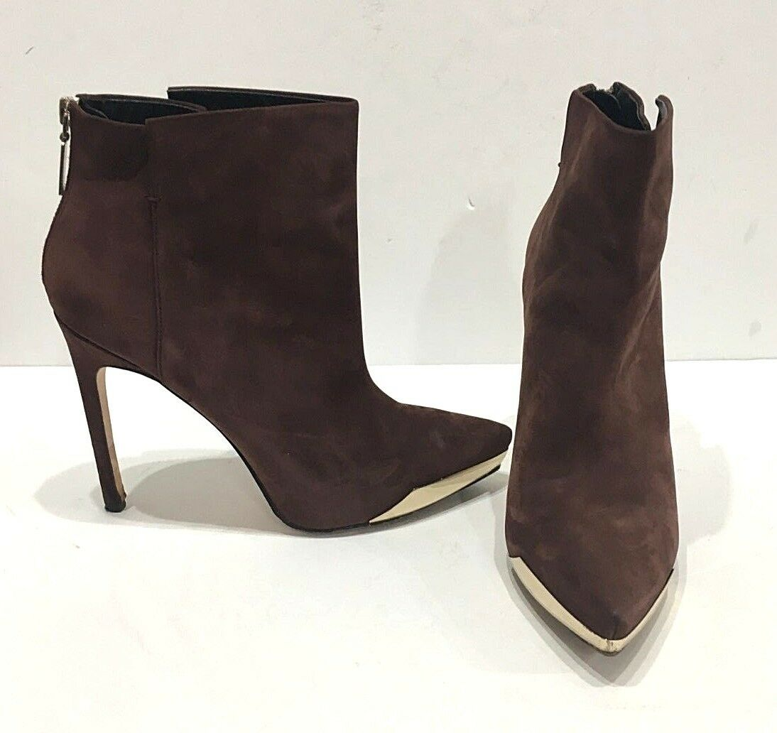 RACHAEL ROY  Giselle  gold Metal Toe Boots Suede Brown Heels Sz 10 Euro 41