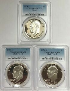 1976-S-Eisenhower-Ike-Dollar-Silver-Clad-Type-1-Type-2-PCGS-PR69DCAM-3-Coin-Set