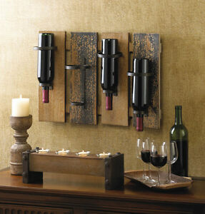 Distressed Rustic Wood Garden Fence Wall Mount Hanging Wine Bottle