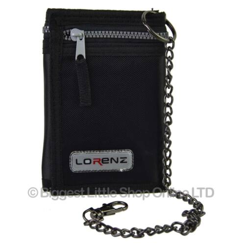 NEW Mens Boys TriFold Nylon Sports WALLET by Lorenz with Security CHAIN Handy