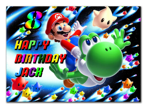 c251; Large Personalised Birthday card; Custom made for any name; Mario