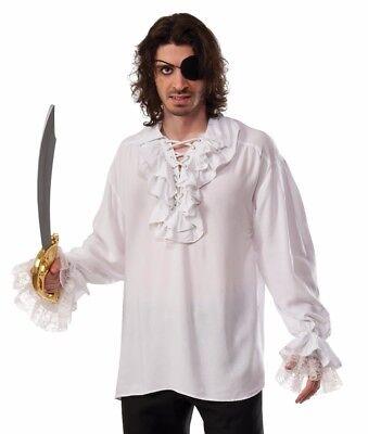 Renaissance Gothic Colonial Vampire White Ruffled Pirate Shirt Plus Size XL