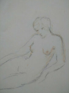 Esquisse femme nue Art Déco dessin original étude au fusain