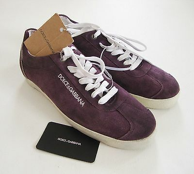Authentic DOLCE & GABBANA Purple Suede SNEAKERS Casual Shoes US-7.5 EUR-37.5