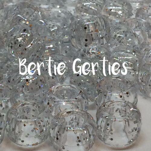 Sparkle baril en plastique 9 x 6mm * 3 pour 2 GLITTER argent PONY BEADS