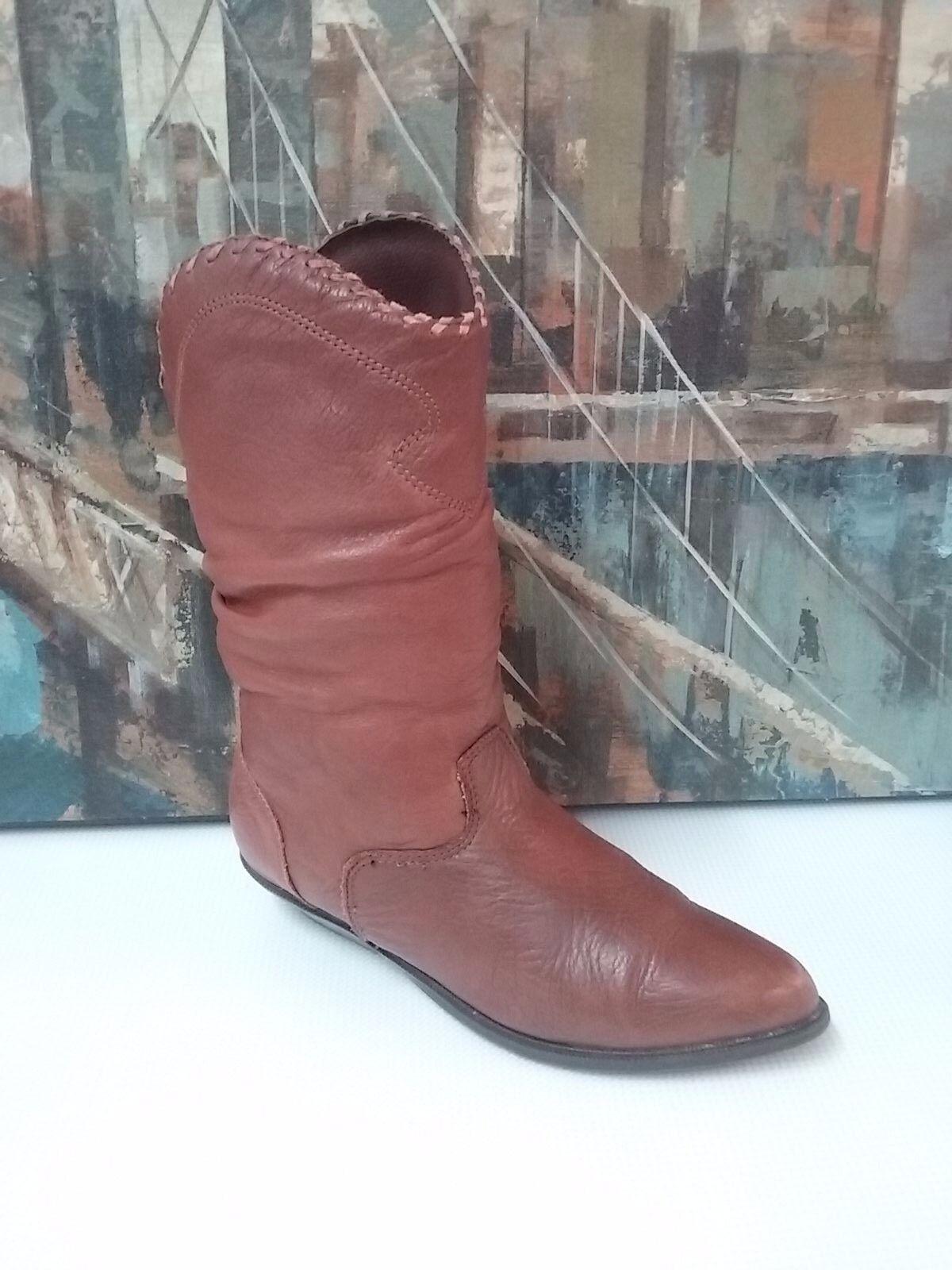 Vintage Zodiac 675 BULLETT 8 M accorn Cuir marron Souple bottes Cowboy Femme