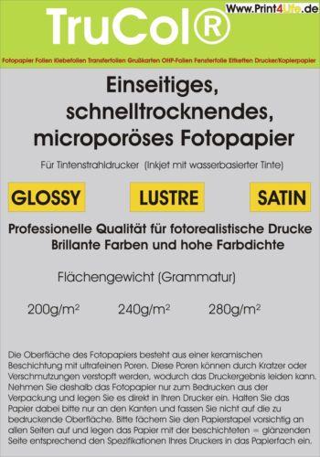 50 Bl DIN A4 Quick Dry Premium Fotopapier 280g 9600 dpi  keramikbeschichtet