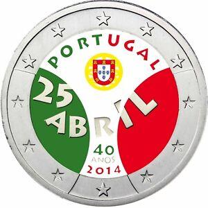 Portugal-2-Euro-2014-Nelkenrevolution-Gedenkmuenze-in-Farbe